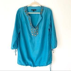 Lafayette 148 Turquoise Beaded Blouse Size 14